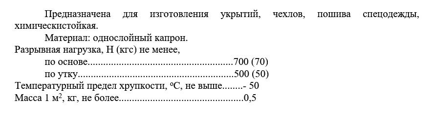 Технические характеристики Ткань прорезиненная Т-15К