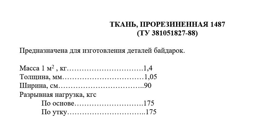ТКАНЬ, ПРОРЕЗИНЕННАЯ 1487 технические характеристики