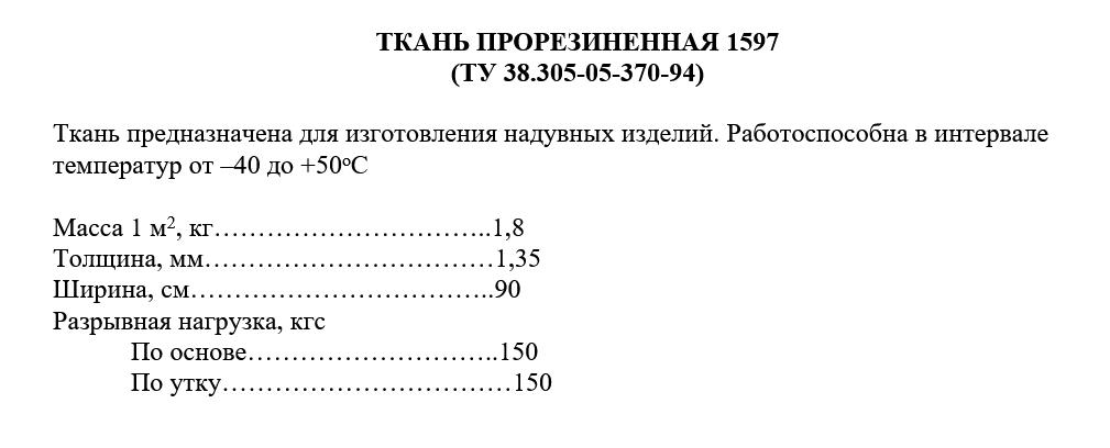 ТКАНЬ ПРОРЕЗИНЕННАЯ 1597 технические характеристики