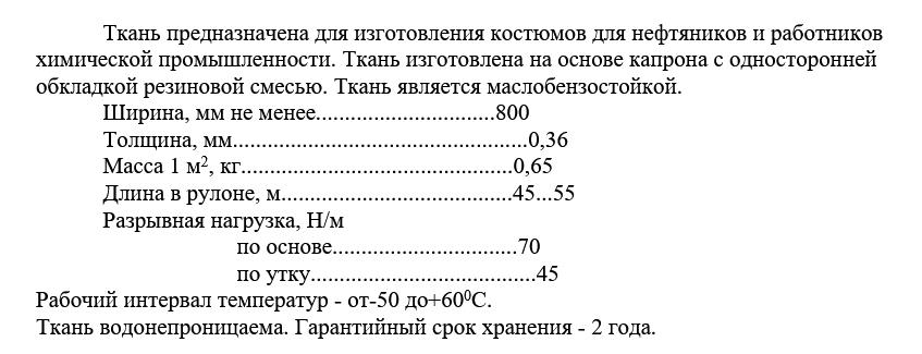технические характеристики Ткань прорезиненная 1630-1