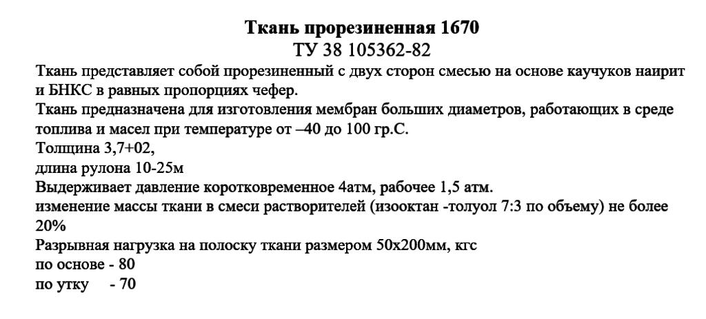 Ткань прорезиненная 1670 технические характеристики